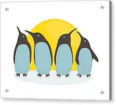 Penguins And Sun. Illustration Of Acrylic Print
