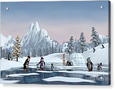 Penguins On A Frozen Lake In A Snowy Acrylic Print by Sara Winter