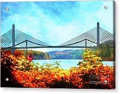 Penobscot Narrows Bridge In Autumn Acrylic Print