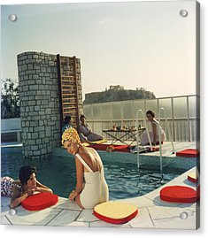 Penthouse Pool Acrylic Print by Slim Aarons