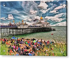 Acrylic Print featuring the photograph People And The Pier by Leigh Kemp