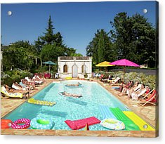 People Enjoying Summer Around The Pool Acrylic Print by Ghislain & Marie David De Lossy