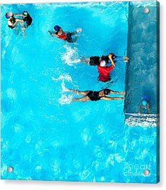 People Exercising In A Swimming Pool Acrylic Print