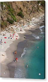 People Relax On Shell Beach Acrylic Print by Holger Leue