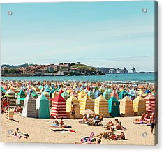 People Relaxing On Gijón Beach Acrylic Print