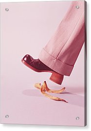 Person About To Step On Banana Skin Acrylic Print by H. Armstrong Roberts