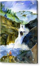 Petroglyph Falls Fishing Acrylic Print