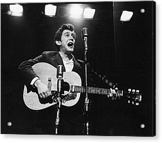 Phil Ochs Performs On Stage Acrylic Print by Fred W. McDarrah