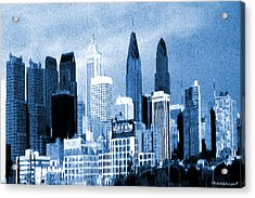 Philadelphia Blue - Watercolor Painting Acrylic Print