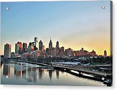 Philly Illuminated Acrylic Print by Valentin Prokopets
