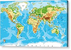 Physical Map Of The World Acrylic Print