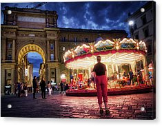 Piazza Della Reppublica At Night In Firenze With Painterly Effects Acrylic Print