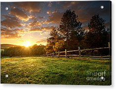 Picturesque Landscape, Fenced Ranch At Acrylic Print