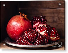 Pieces And Grains Of Ripe Pomegranate Acrylic Print