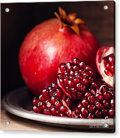 Pieces And Seeds Of Ripe Pomegranate Acrylic Print