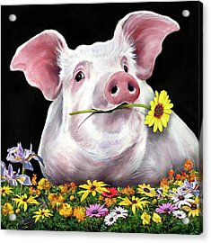 Pig With Flowers Acrylic Print