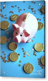 Piggy Bank On The Background With The  Chocoladen Coins Acrylic Print
