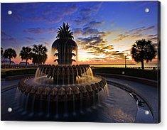 Pineapple Fountain In Charleston Acrylic Print by Sam Antonio Photography