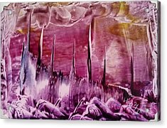 Pink Abstract Castles Acrylic Print