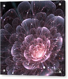 Pink Abstract Flower With Sparkles On Acrylic Print