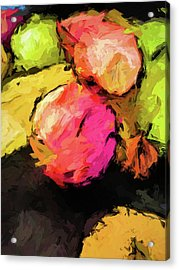 Pink And Green Apples With The Yellow Banana Acrylic Print