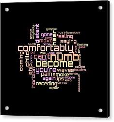 Acrylic Print featuring the digital art Pink Floyd - Comfortably Numb Lyrical Cloud by Susan Maxwell Schmidt