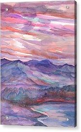 Pink Mountain Landscape Acrylic Print