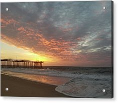 Pink Rippling Clouds At Sunrise Acrylic Print