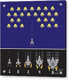 Pixel Art Style Space War And Spaceship Acrylic Print by Dmitriylo