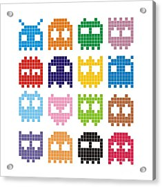 Pixel Monster Icon Acrylic Print by Lazyvector