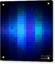 Acrylic Print featuring the digital art Pixelated Moonlit Sky by Rachel Hannah