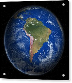 Planet Earth From Space, South America Acrylic Print by Saul Gravy