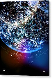 Planet Earth With Lights Acrylic Print by Reign Voltaire / Eyeem