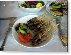 Plate Of Kebabs And Salad For Lunch Acrylic Print