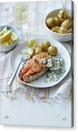 Plate Of Salmon, Potatoes And Salad Acrylic Print by Cultura Rm Exclusive/brett Stevens