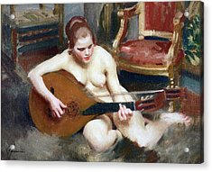Playing On The Lute Acrylic Print