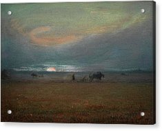 Ploughing At Sunset Acrylic Print