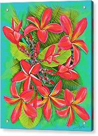 Plumeria Sunburst Acrylic Print