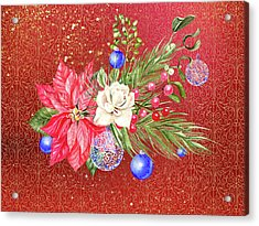 Poinsettia With Blue Ornaments  Acrylic Print
