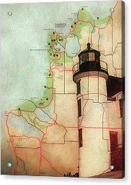 Point Betsie Lighthouse Map Acrylic Print