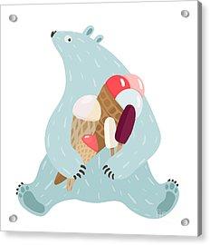 Polar Bear And Ice Cream. White Bear Acrylic Print