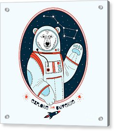 Polar Bear Astronaut In Outer Space Acrylic Print