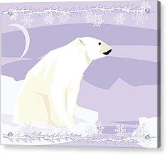 Polar Bear In A Decorative Illustration Acrylic Print