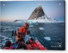 Pontoon Cruise In The Arctic Fjord - Acrylic Print