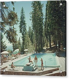Pool At Lake Tahoe Acrylic Print by Slim Aarons
