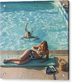 Poolside On Shelter Island Acrylic Print by Slim Aarons