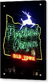 Acrylic Print featuring the photograph Portland White Stag Sign 11318 by Rospotte Photography