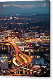 Portland At Night Acrylic Print