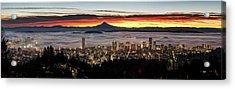 Portland Foggy Sunrise Acrylic Print