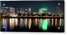Acrylic Print featuring the photograph Portland Oregon Skyline V3 by Rospotte Photography